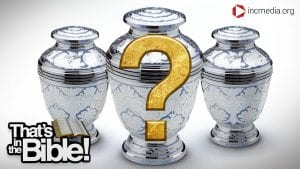 three urns with a gold question mark