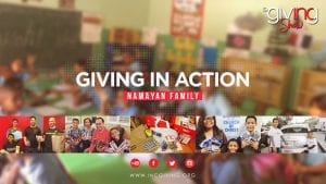 Collage of Namayan and volunteers with donated school supplies with overlay text Giving In Action