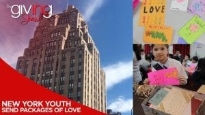 collage of New York City Building with student holding letters of support.