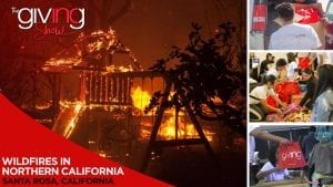 Playground and trees engulfed in flames with overlay text Wildfires in Northern California