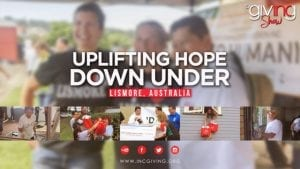 Volunteers laughing together with overlay text Uplifting Hope Down Under
