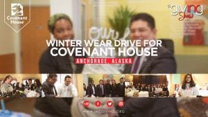Volunteers smiling with Alaskan teens in need with overlay text Winter Wear Drive for Covenant House