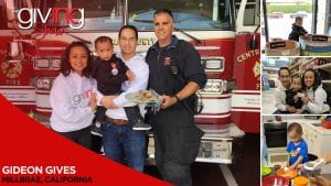 Gideon Alignay, his parents and a firefighter holding batch of cookies stand in front of firetruck with overlay text Gideon Gives. Millbrae, California