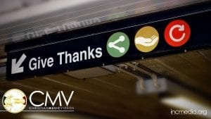 Subway style sign with text Give Thanks