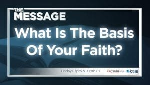 "Open book with blue overlay and text overlay: ""What is the basis of your faith?"""