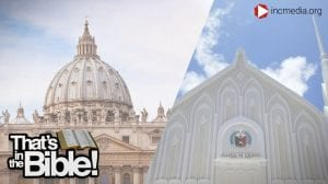 A split screen between St. Peter's Basilica and an Iglesia Ni Cristo chapel