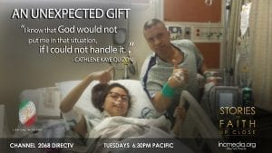 "girl in hospital bed and man standing, smiling and giving thumbs up with quoted text ""I know that God would not put me in that situation, if I could not handle it."""