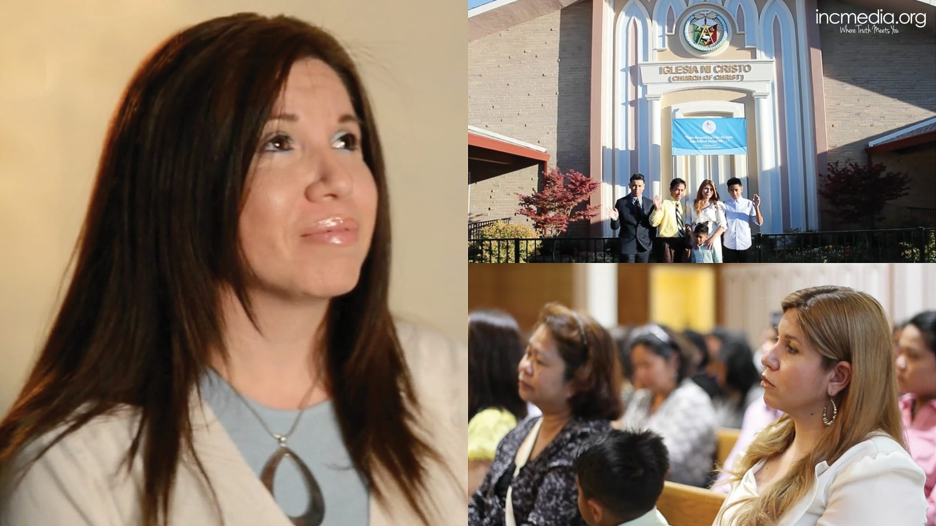 collage, first picture is woman looking up, second is group photo in front of worship building, third is woman listening during worship service