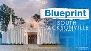 Exterior of house of worship with overlay text Blueprint South Jacksonville Florida