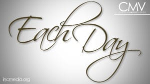 """White background with vignette effect and text overlay: """"Each Day"""""""