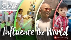 "Photo collage of children with sickness/disability with text overlay: ""Influence the World"""