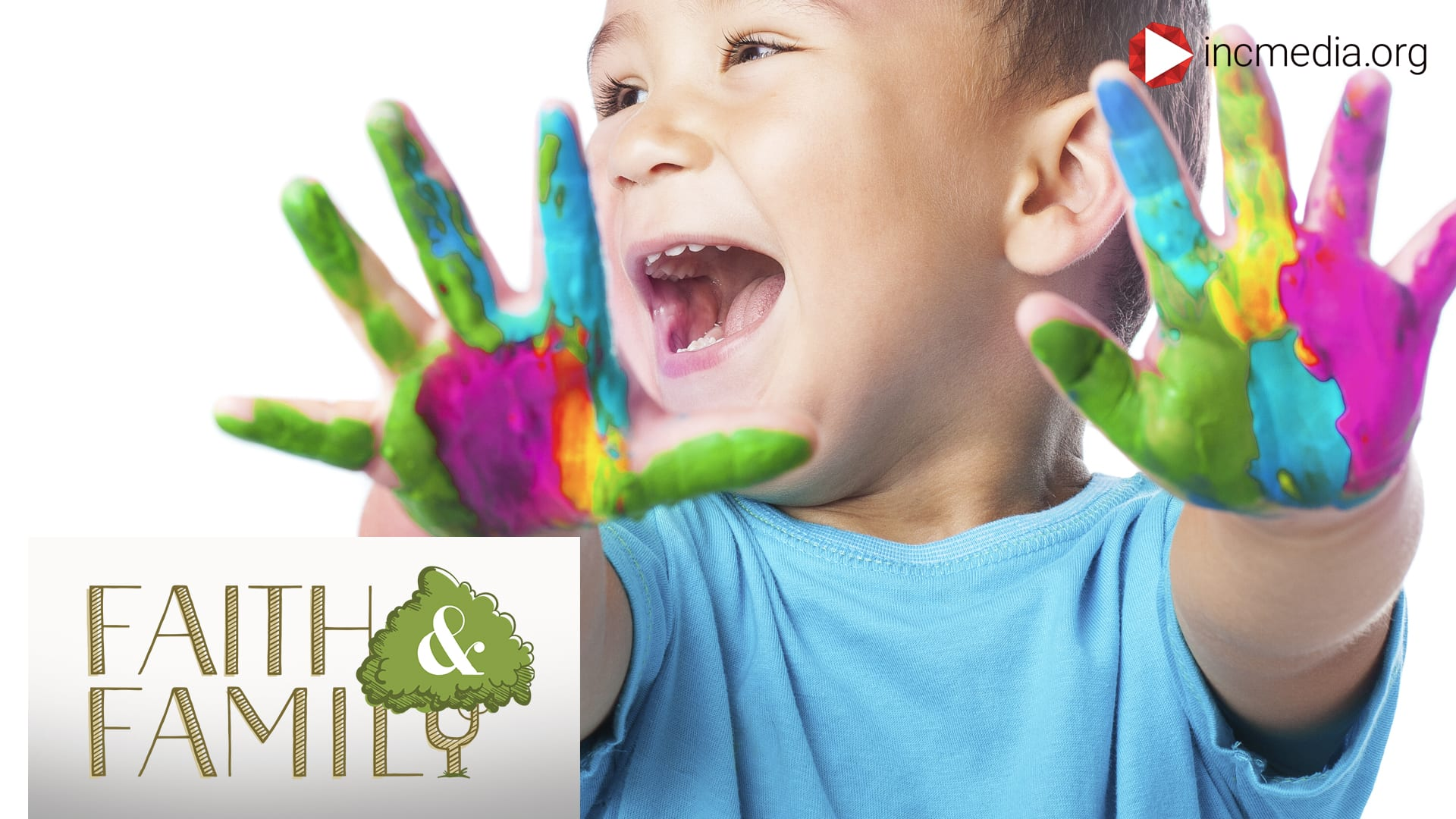 boy will paint on his hands laughing