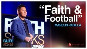 Man smiling while looking out with text overlay Faith & Football, Marcus Padilla.