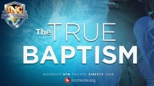 Under water with the text The True Baptism