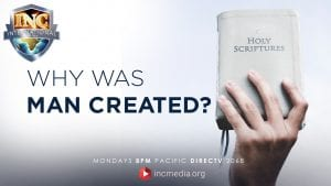 """Hand holing up book of Holy Scriptures with text overlay: """"Why was many created?"""""""