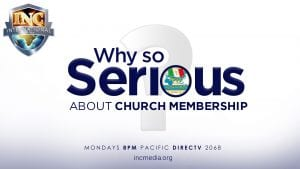 """White question mark with text overlay: """"Why so serious about church membership"""""""