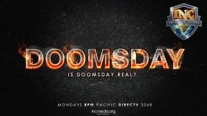 "The word ""Doomsday"" in fire with text under ""Is Doomsday Real?"""
