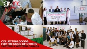 Collage of volunteers with overlay text Collecting Goods For The Good of Others