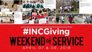 Collage of volunteers and their acts of kindness with overlay text #INCGiving Weekend of Service