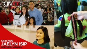 Collage of Isip family and Jaelyn Isip's hair being measured fo be cut and donated with overlay text Kind Kids Jaeyn Isip.