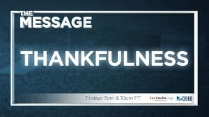 "Blurred image with blue overlay and text overlay: ""Thankfulness"""