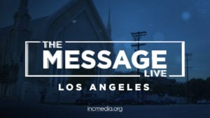 "Place of worship with blue overlay and text overlay: ""The Message LIVE - Los Angeles"""