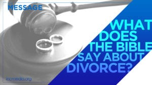 """Two wedding rings on round block with a judge's gavel with text overlay on diagonal ribbon shape: """"What does the Bible say about divorce?"""""""