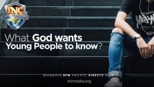 """Partial image of person sitting on steps with headphones on with text overlay: """"What God wants young people to know?"""""""