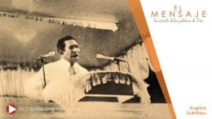Picture of Felix Y.Manalo, the Messenger of God in these last days, preaching at a pulpit, the words of God
