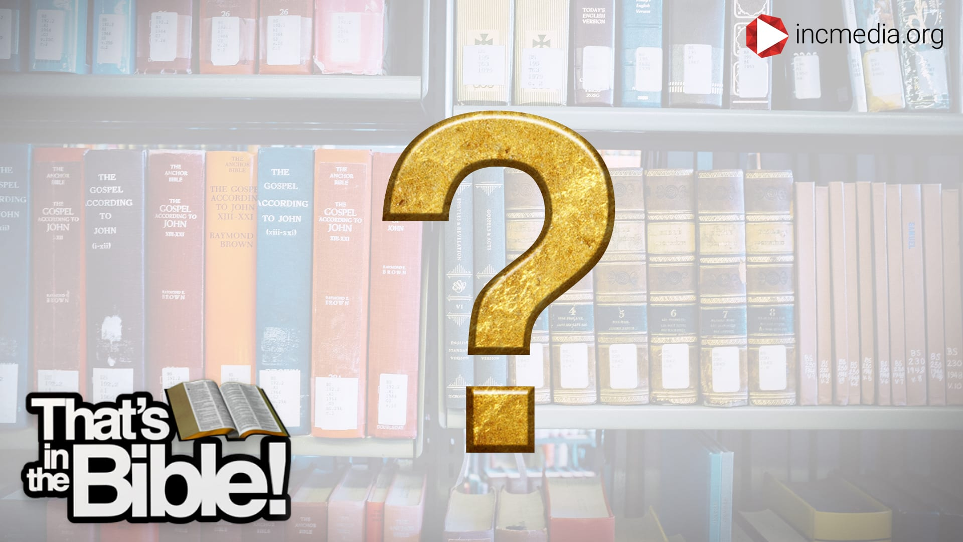 a library of books with a gold question mark