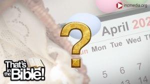 An Easter basket with a calendar under a gold question mark