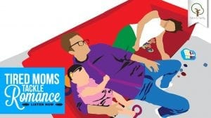cartoon of dad, mom tired laying down on the couch with dad holding a toddler girl
