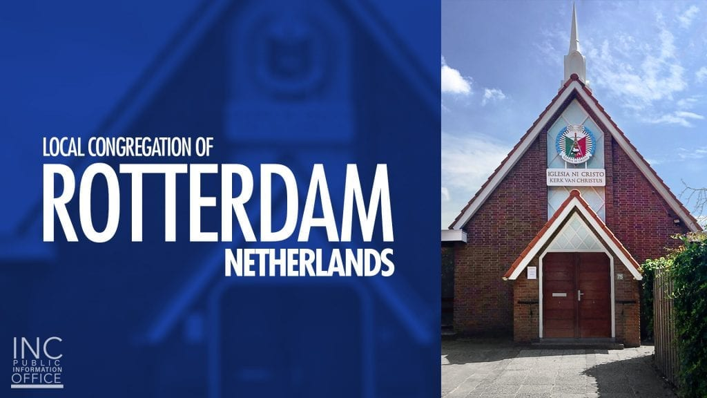 worship building with seal, blue sky and text Local Congregation of Rotterdam, Netherlands