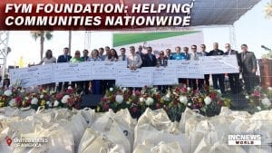 Non-profit organizations with donation checks, goodwill bags.