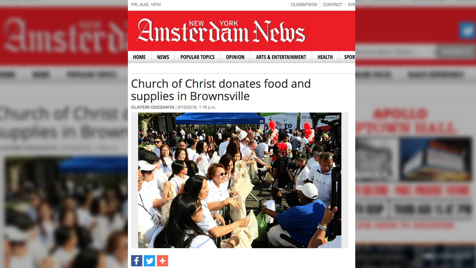 "Amsterdam News cover page with headline ""Church of Christ donates food and supplies in Brownsville"