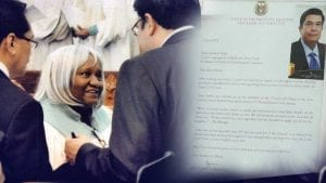 A woman smiling as she meets the Executive Minister. A portion of the letter sent by the Executive Minister to Sandy E'addy.