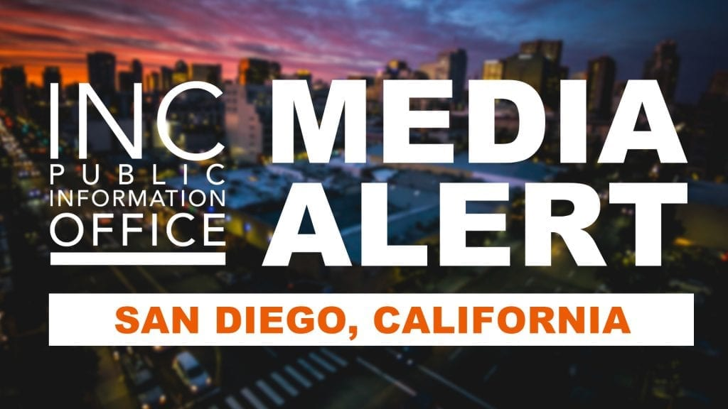 San Diego skyline and text INC Public Information Office Media Alert