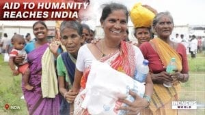A group of happy women carrying care packages