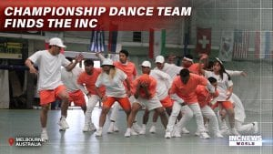 A dance group in action