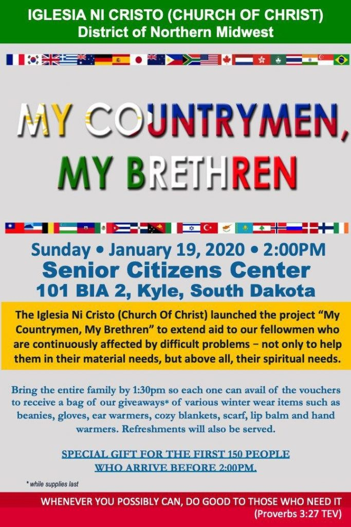 Event Information: My Countrymen, My Brethren. Sunday January 19, 2020.