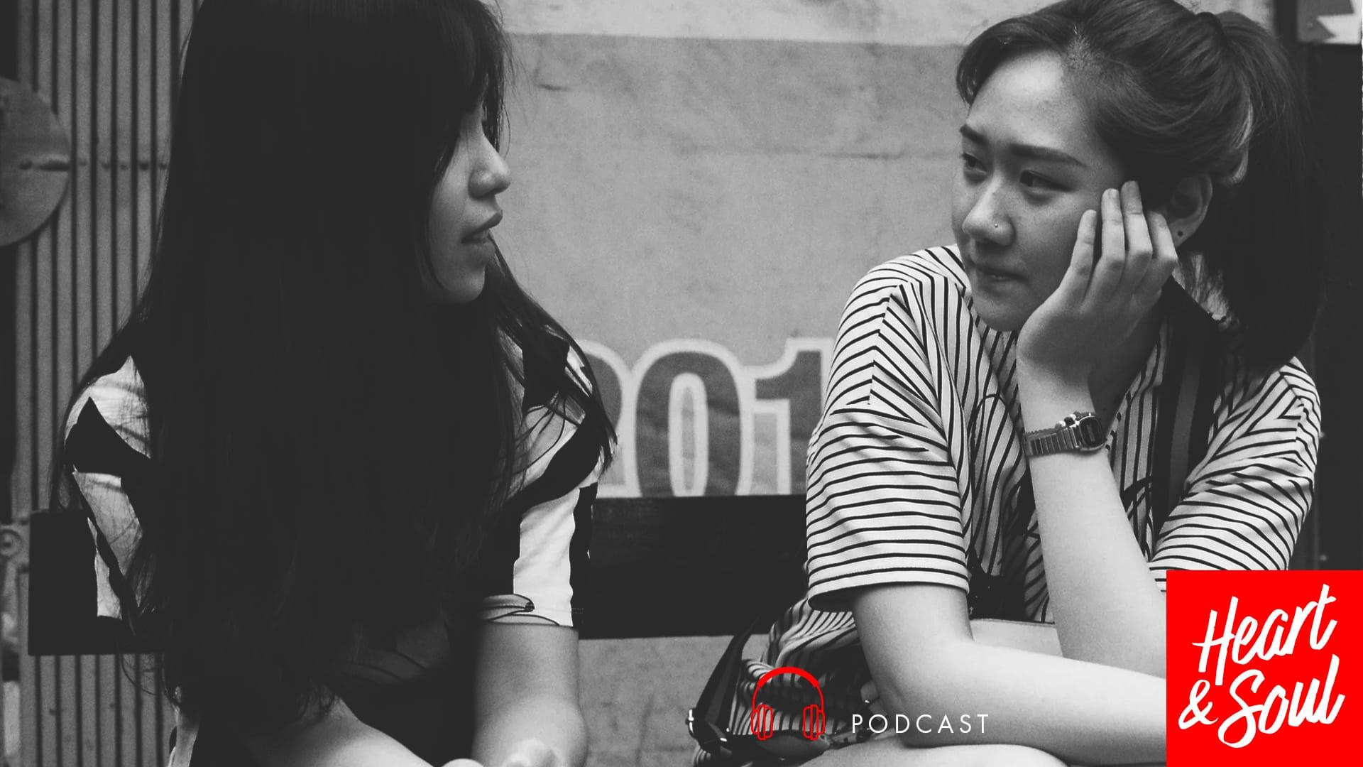 Two asian women in conversation