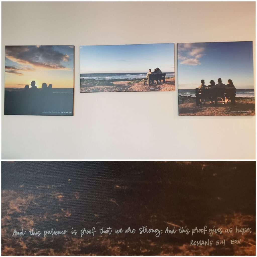 photos mounted on walls