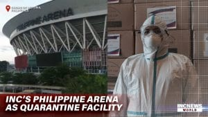Photos of the Philippine Arena and a medical worker.