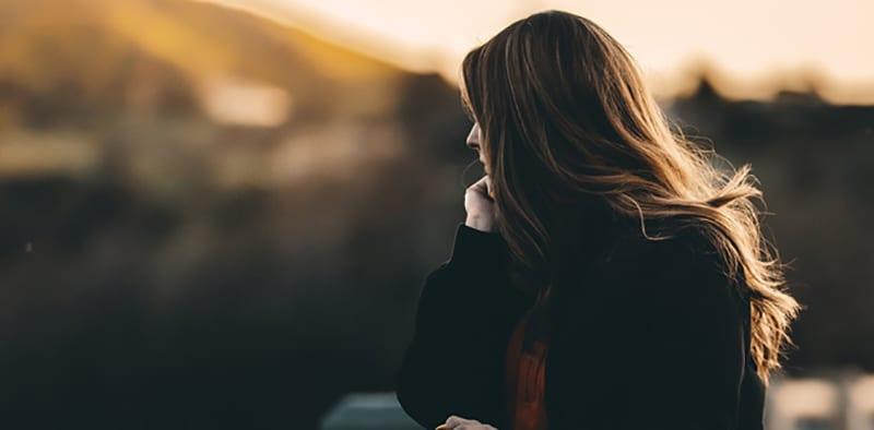 Girl Thinking looking away.