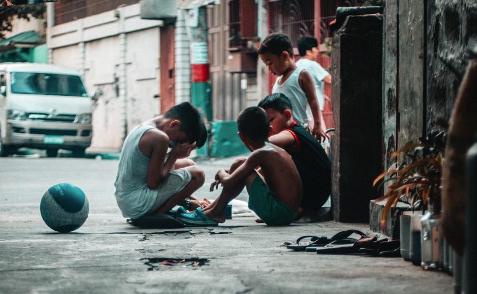Sad kids on the streets