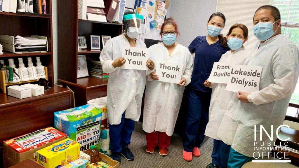 Davita Lakeside Dialysis Center in Washington D.C. says 'thank you' for essential goods and Covid-19 relief packages from Iglesia Ni Cristo's Felix Y. Manalo Foundation.
