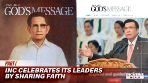 A cover of 'God's Message' magazine featuring Brother Felix Y. Manalo aside a cover of 'God's Message' magazine featuring Brother Eduardo V. Manalo.