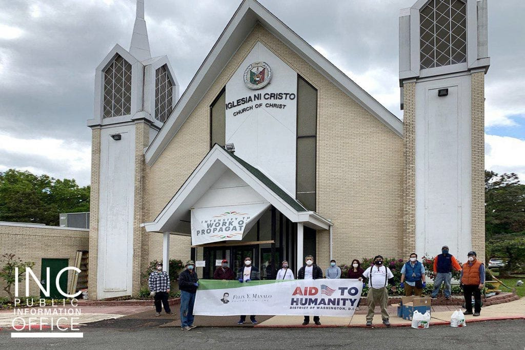 Volunteers launch the day's deliveries from the INC house of worship in Temple Hills, Maryland.