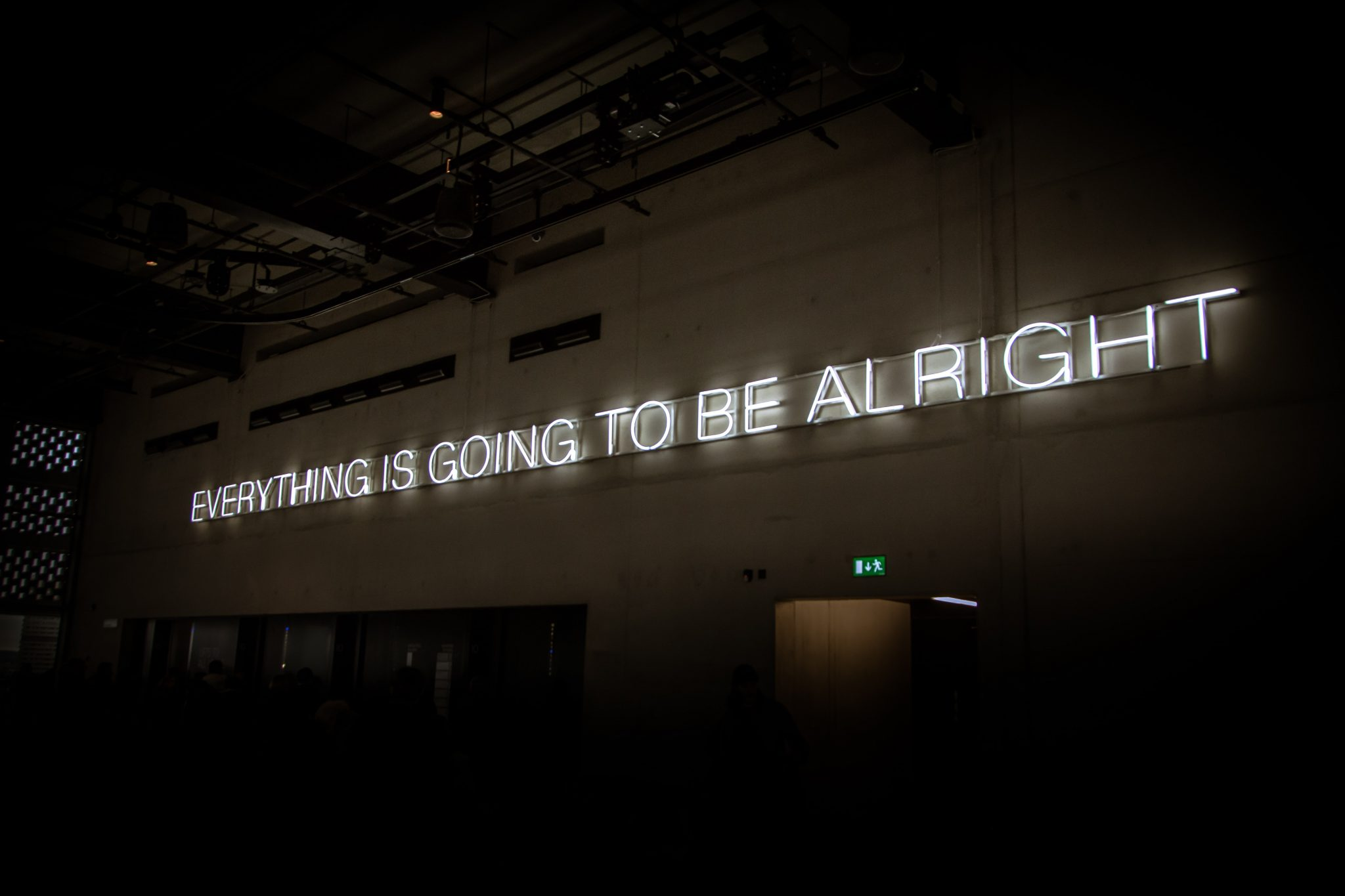 "Illuminated sign ""everything is going to be alright"""