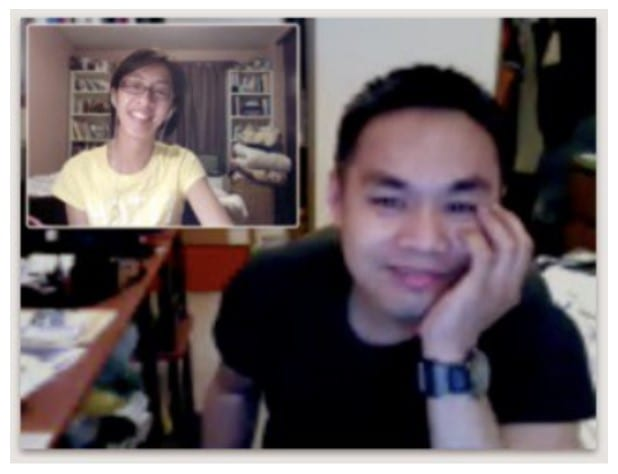 Couple during video call 1